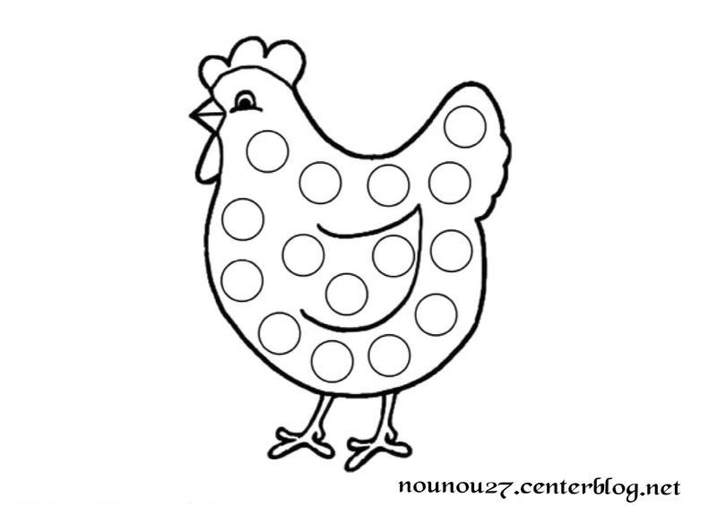 Activite gommettes - Coloriage poules ...